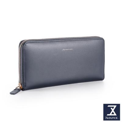 74盎司 Elegant 真皮ㄇ字拉鍊長夾[LN-755-EL-W]藍