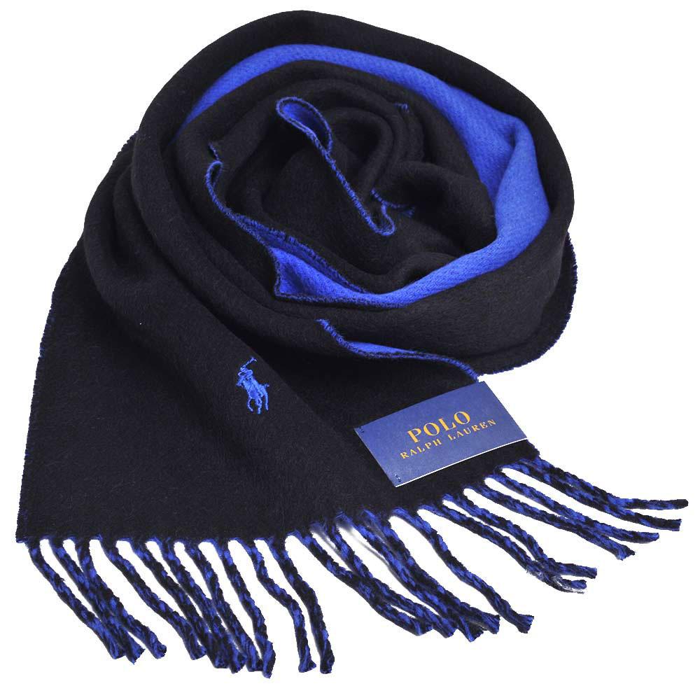 RALPH LAUREN POLO小馬刺繡LOGO雙面配色義大利製羊毛圍巾(海軍藍/寶藍)GUCCI