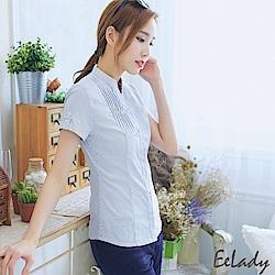 OL立領U壓摺條紋灰色短袖襯衫-EELADY