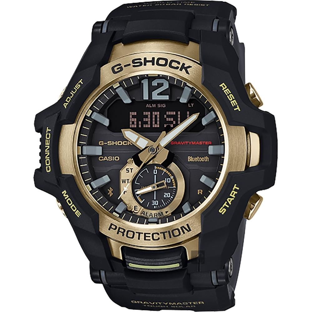 CASIO 卡西歐 G-SHOCK 飛行員太陽能藍牙手錶-金(GR-B100GB-1A)