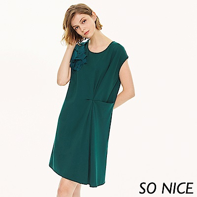 SO NICE氣質花朵羅馬布洋裝