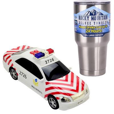《警備車隊系列-國道警車》燈光音效錄音磨輪車+冰霸杯組