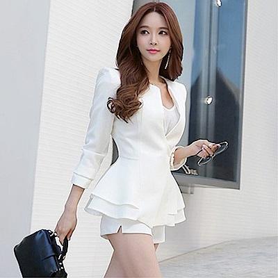 DABI 韓系V領收腰系帶荷葉邊西裝長袖單品外套
