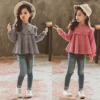 小衣衫童裝 中大童甜美花邊格子小立領長袖娃娃衫