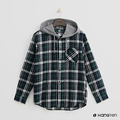 Hang Ten - 格紋排扣連帽上衣-綠