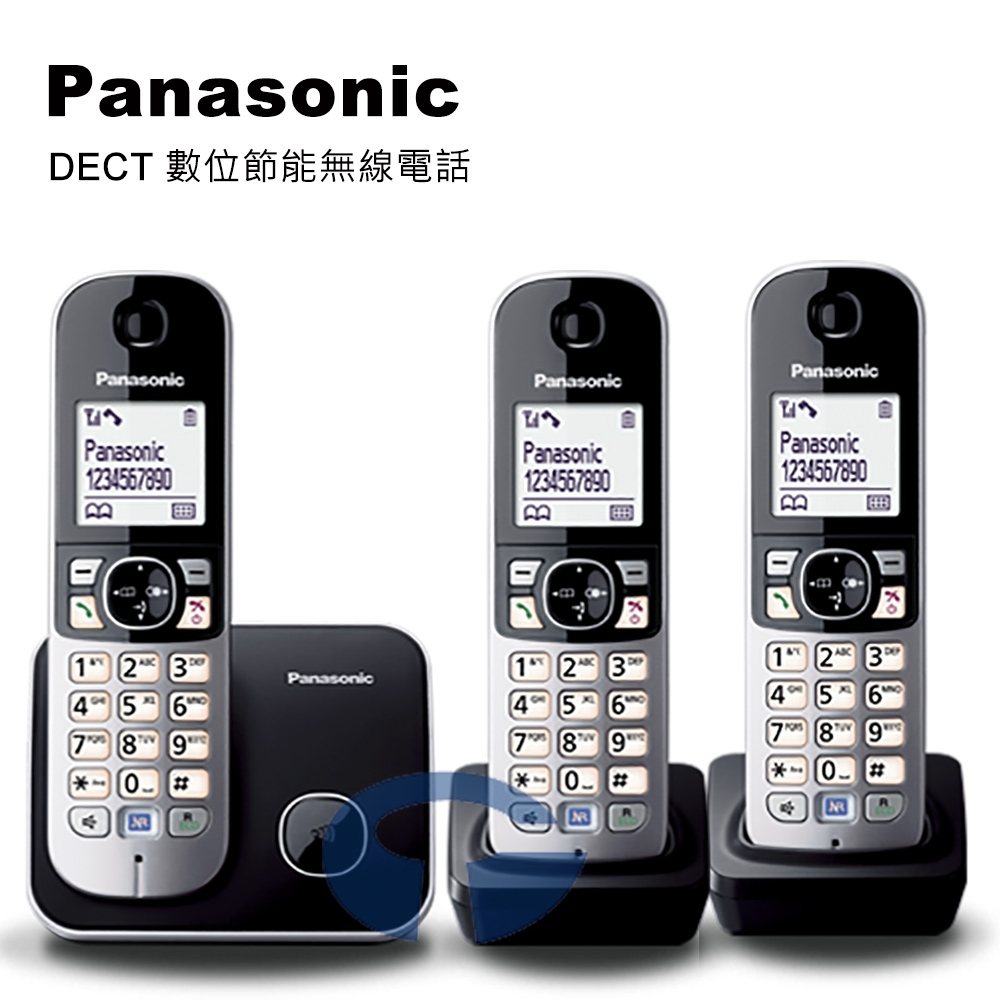 Panasonic DECT 節能數位大字體無線電話 KX-TG6812+1 (極致黑)