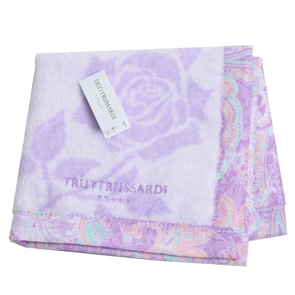 TRUSSARDI 玫瑰圖紋LOGO 棉質小方巾(紫色)