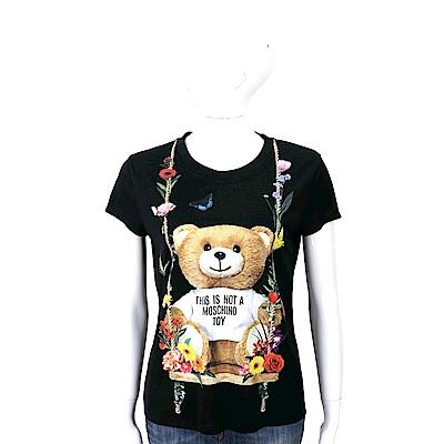 MOSCHINO 花朵鞦韆泰迪熊黑色絲質T恤