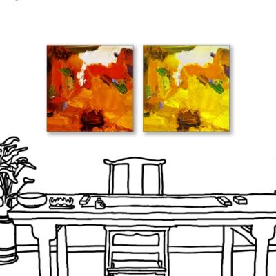 24mama掛畫-二聯式 藝術抽象 油畫風無框畫 40X40cm-炙烈