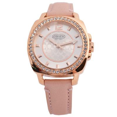 COACH 優雅甜美時尚玫瑰金粉色鑽圈錶框logo腕錶-34mm