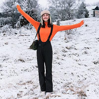防潑水機能內刷搖粒絨保暖禦寒吊帶連身褲-OB大尺碼