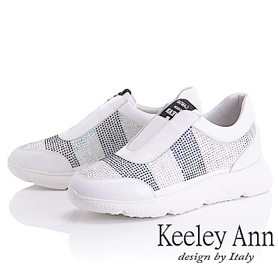 Keeley Ann 簡約舒適~雙色水鑽真皮軟墊休閒鞋(白色-Ann)