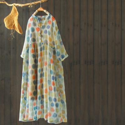 寬鬆氣質兩件套顯瘦波點印花a字長洋裝-設計所在