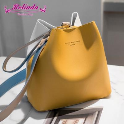 【Belinda】愛德拉撞色手提側背水桶包(黃色)