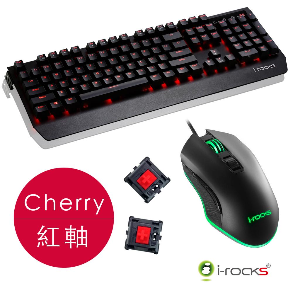 i-Rocks K60M鋁合金機械式電競鍵盤-Cherry紅軸+M33 RGB電競滑鼠