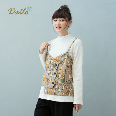 【Dailo】動物們假兩件高領長袖-上衣(二色)