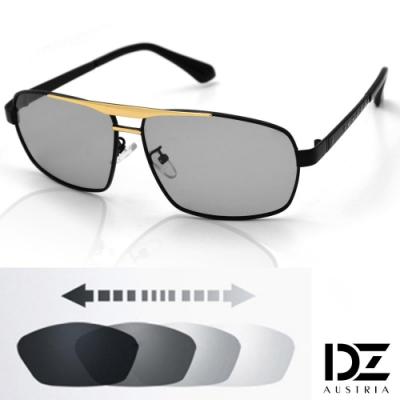 DZ 科技螺釘變色片 抗UV 防曬偏光太陽眼鏡墨鏡(黑框)