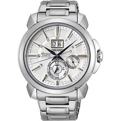 (無卡分期12期)SEIKO 精工Premier人動電能萬年曆手錶(SNP159J1)-銀色