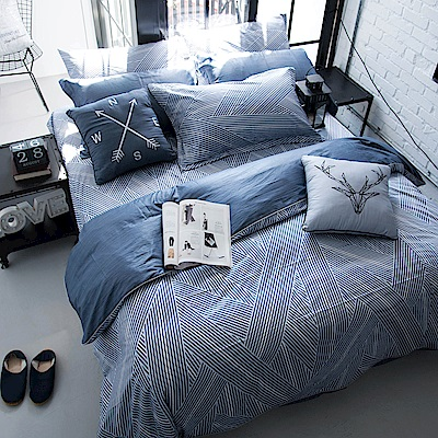 OLIVIA  波賽頓 藍  特大雙人床包被套四件組 200織精梳純棉