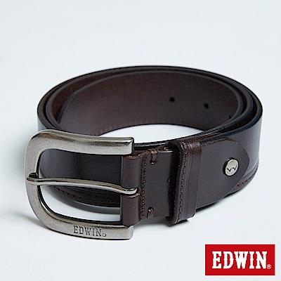 EDWIN 凹槽縫線皮帶-深咖啡