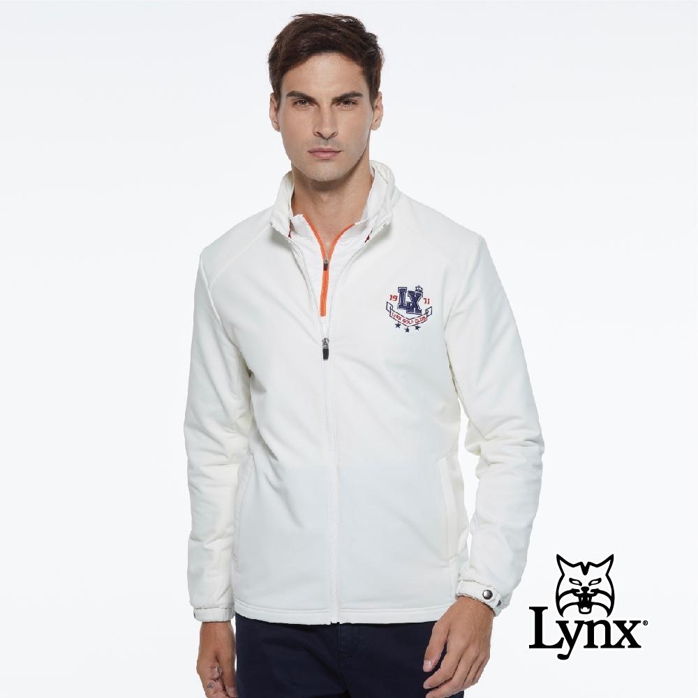 【Lynx Golf】男款防潑水內刷毛Lynx立體凸印長袖外套-牙白色