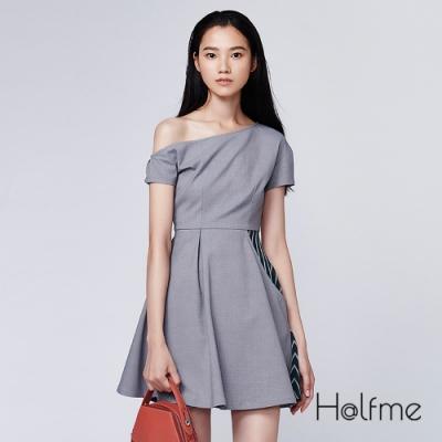 Halfme-斜肩拼接洋裝-女