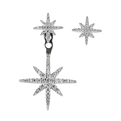 apm MONACO METEORITES系列晶鑽鑲飾流星設計不對稱純銀耳環(銀)