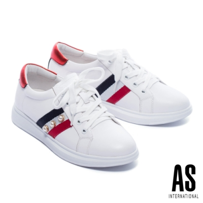 休閒鞋 AS 時髦格式珍珠織帶全真皮綁帶厚底休閒鞋-白