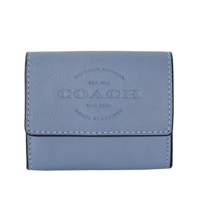 COACH淺藍色全皮文字烙印釦式翻摺卡夾零錢包