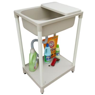 新式中型單槽塑鋼水槽 洗衣槽 洗手台(附洗衣板)-1入