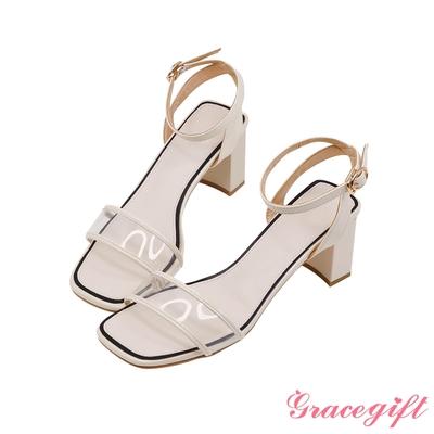 Grace gift-透明寬帶粗高跟涼鞋 白