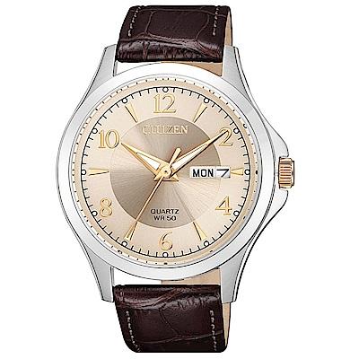 CITIZEN星辰 經典紳士三針時尚皮帶手錶(BF2009-29X)