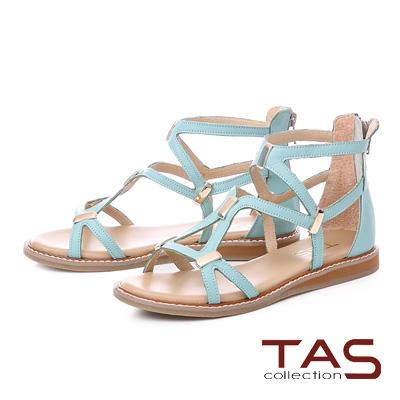 TAS羅馬風素面長型金屬後包涼鞋-清新藍