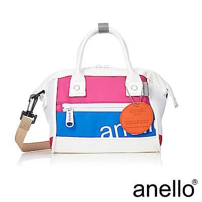anello 撞色迷你波士頓兩用手提斜背包 粉紅x藍(純白底)