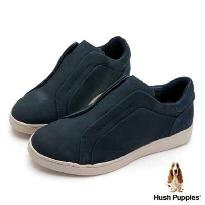 Hush Puppies 經典款真皮休閒女鞋-深藍