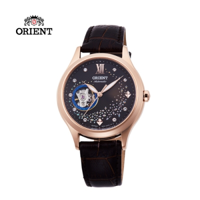 ORIENT東方錶HAPPY STREAM系列藍月奇蹟鏤空機械錶皮帶款RA-AG0017Y
