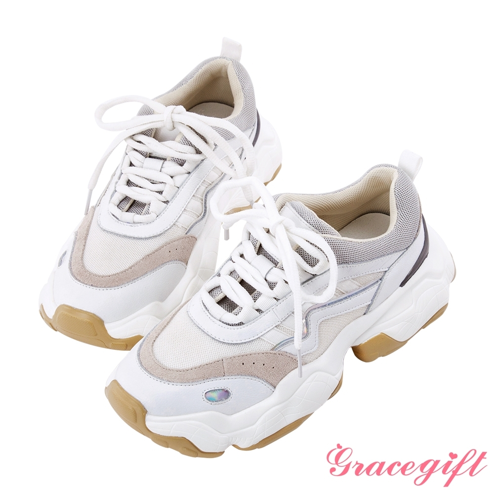 Grace gift-復古拼接線條老爹鞋 白