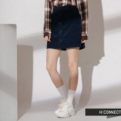 H:CONNECT 韓國品牌 女裝-燈芯絨排扣短裙-藍