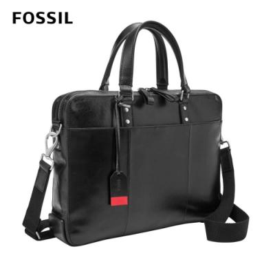 FOSSIL Defender 真皮經典公事包-黑色 MBG9463001