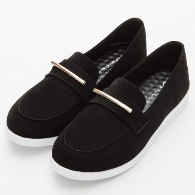 River&Moon休閒鞋 MIT金飾厚切乳膠樂福鞋 黑