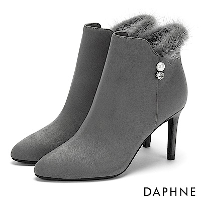 達芙妮DAPHNE 短靴-優雅毛毛佐珍珠水鑽細跟短靴-灰