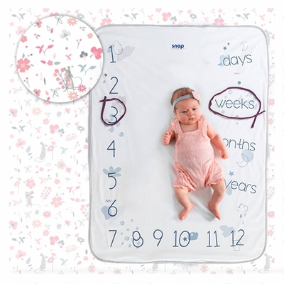 【波蘭Snap The Moment】寶寶寫真毯-Rosy White(抗菌銀離子 雙面可用 拍照毯 嬰兒毯)
