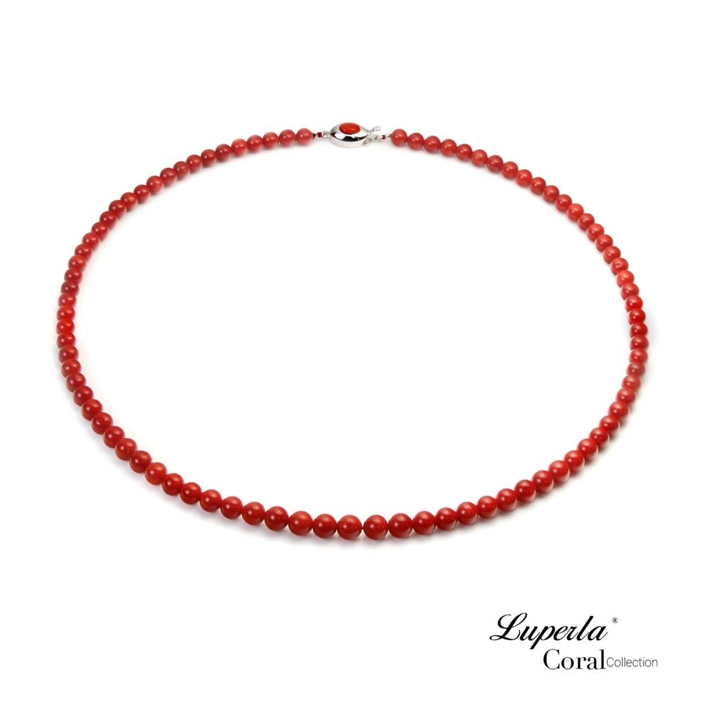 大東山珠寶 頂級天然全紅沙丁珊瑚 5.5-6mm圓珠項鍊
