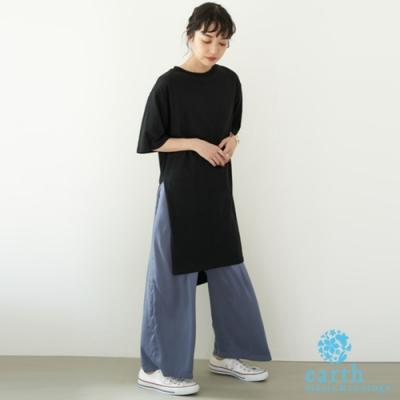 earth music 【SET ITEM】側開衩五分袖長上衣+緞面寬褲