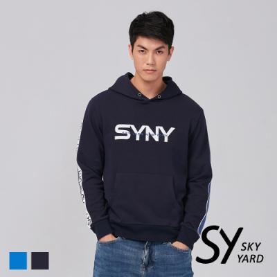 【SKY YARD 天空花園】字母滾邊SYNY繡花連帽T恤-深藍