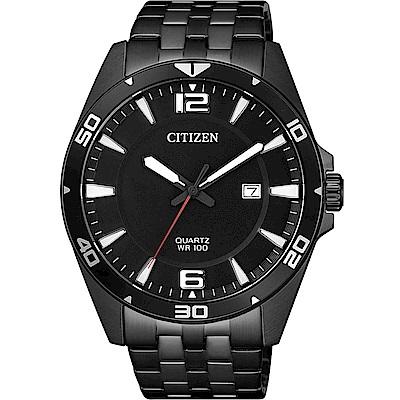 CITIZEN星辰 黑色極光石英腕錶(BI5055-51E)-黑/43mm