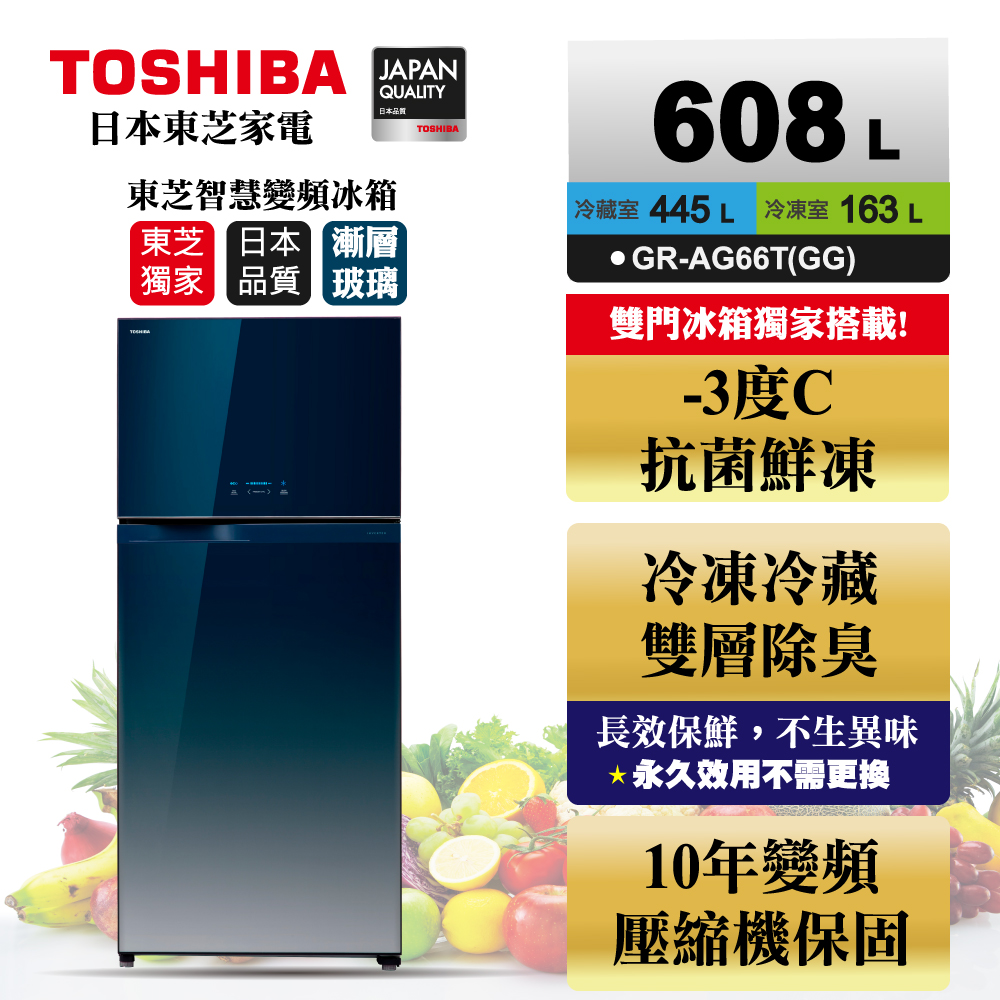 TOSHIBA東芝 608L 1級變頻2門電冰箱 GR-AG66T(GG)
