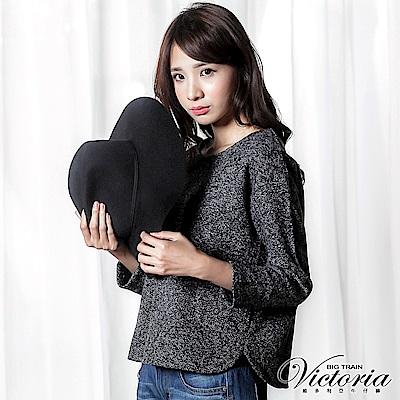 Victoria 花紗短版寬鬆長袖T-女-黑灰混紗
