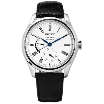 SEIKO 精工 PRESAGE 品味紳士 機械自動上鍊 鱷魚皮手錶-白x黑 /40mm