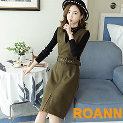 坑條紋毛衣+V領背心裙兩件套 (共二色)-ROANN